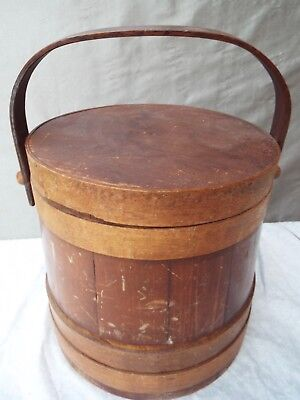 Antique Primitive Wood Sugar Bucket FIRKIN with  Lid Medium Size ~ Beautiful!