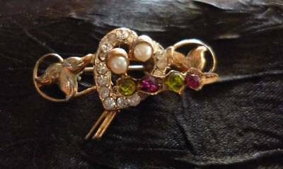 Dainty Art Deco Vintage Gold Filled Pink Green Rhinestone Pearl Heart Pin Brooch