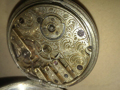 Antique Pocket Watch 1800s Rare Carved Etched Movement Mens Swiss Gold Silver $1
