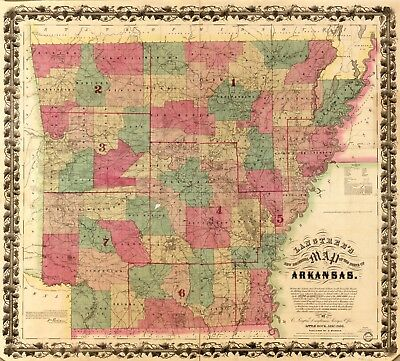 A4 Reprint of American Cities Towns States Map Arkansas