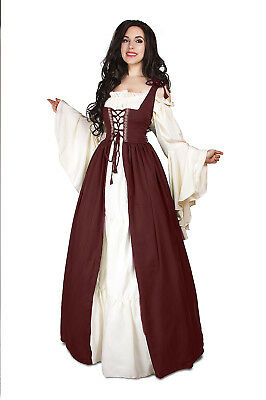Renaissance Medieval Irish Costume BURGUNDY Over Dress ONLY Fitted Bodice l/xl