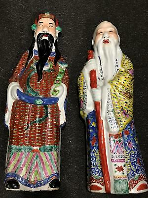 """Vtg 2pc Pair Chinese Export Porcelain Painted Wise Man Art Statue Figurines 18"""""""