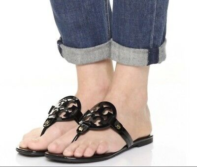 730cbefad098 Tory Burch Black Patent Leather Miller Logo Sandals Size 8m New-