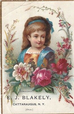 Antique Vintage Trade Card Girl Child Rose Flower Story & Clark Organ Chicago Il
