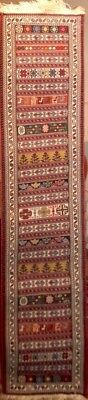 New kilim runner hand knotted 1 x 5 natural color wool persian