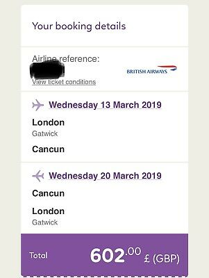 Direct flight to Cancun from London Gatwick British airways march spring break