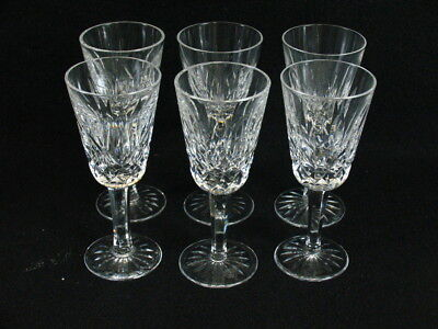 SET of 6 WATERFORD CUT CRYSTAL SHERRY PORT WINE LIQUOR GLASSES - LISMORE