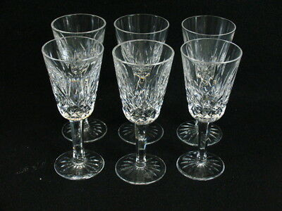 SET of 6 WATERFORD LISMORE CUT CRYSTAL SHERRY PORT WINE LIQUOR GLASSES