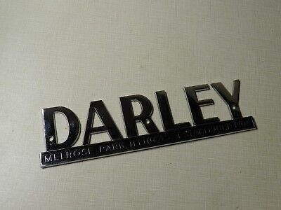 Vtg Original Chrome Darley Fire Engine Truck Emblem Melrose Park Illinois Metal