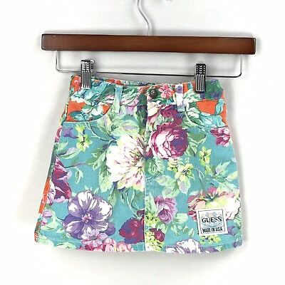 Vintage Guess Toddler Girls Floral Denim Skirt Size 4T 4Y USA Made 100 Cotton