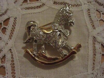Vintage silver and gold rocking horse rhinestone brooch