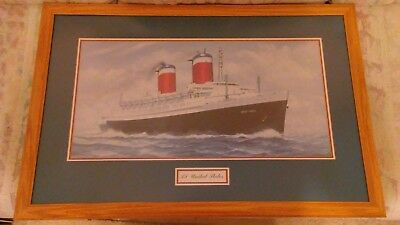 S.S. United States (Fastest Ocean Liner) Original Matted & Framed Lithograph