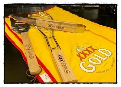 XXXX Gold Beer BBQ Apron Tools Tongs Spatula Fish Grill $99.80rrp