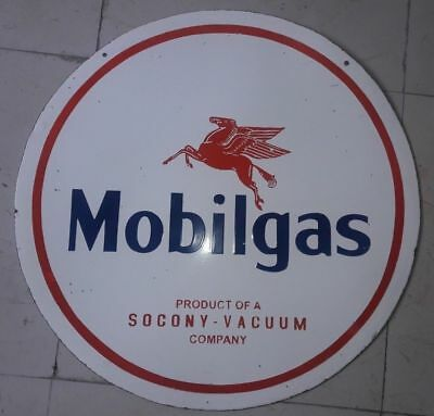 """Porcelain Sign Mobilgas Vacuum Company ENAMEL SIGN Size 42"""" Inches Double Sided"""