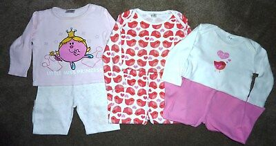Girls Pyjama Bundle - 9-12 Months - Some Marks - Little Miss Princess / Bird
