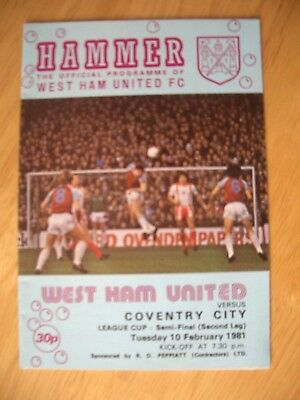 10/02/1981...League Cup, Semi-final.....WEST  HAM  UNITED  v  COVENTRY  CITY....