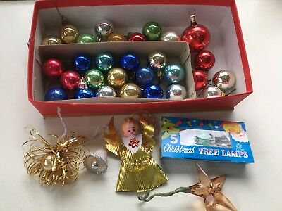 34  VINTAGE 1960s Assorted Glass & plastic Christmas decorations Ornaments
