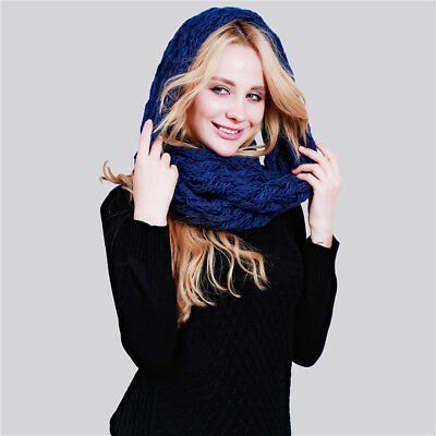 Women Scarf Shawl Winter Soft Warmer Knitting Scarf Unisex Solid Color Snood BE