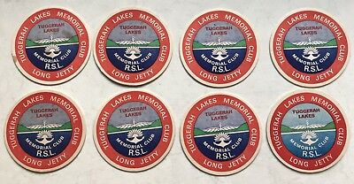 8 Vintage Retro Coasters Tuggerah Lakes Memorial RSL Club Long Jetty NSW
