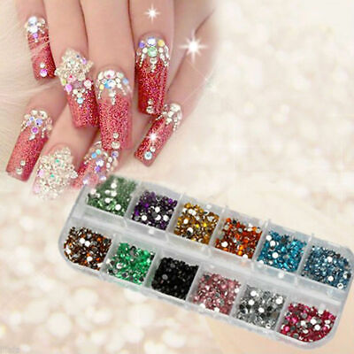 UV Gel Deco 3600 Pcs Rhinestones Nail Art Case Assorted Designs for Acrylic Tips