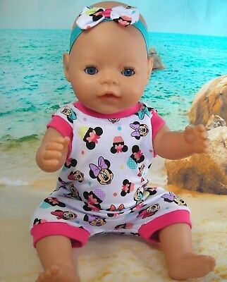 """Dolls clothes for 17"""" Baby Born doll~MINNIE MOUSE CUPCAKE JUMPSUIT & HAIR BOW"""