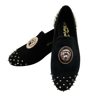 0e63ab7a5ae Harpelunde Animal Buckle Men Dress Shoes Black Velvet Loafers With Gold  Spikes