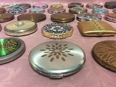 Vintage Estate Lot Of 35 Compact Mirrors / Powder Compacts, Kigu / Stratton ++++