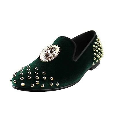Harpelunde Rivets Men Wedding Shoes Green Velvet Loafers With Lion Buckle 15d6655c19d0