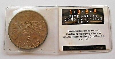 💫1988 AUSTRALIA $5 DOLLAR COMMEMORATIVE COIN UNC OPENING of PARLIAMENT HOUSE 💫