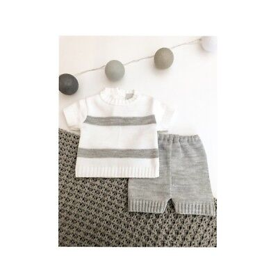 Traditional Spanish Style Baby Boys Grey Knitted Summer Shorts Outfit - Boat Set