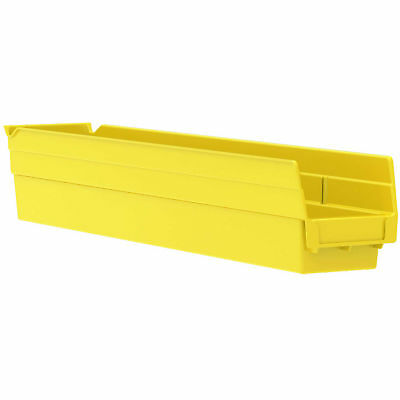 "Akro-Mils 30124 Plastic Shelf Bin Nestable - 4-1/8""D x 23-5/8""D x 4""H Yellow,"