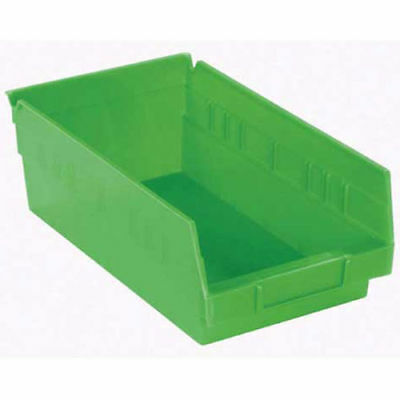 "Akro-Mils 30150 Plastic Shelf Bin Nestable - 8-3/8""W x 11-5/8""D x 4""H Green, Lot"