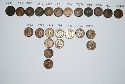 Job Lot of Old British Farthing Copper Coins ,24 coins dated from 1821 to 1954.
