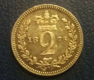 Great Britain Maundy Silver 2 Pence Queen Victoria 1876