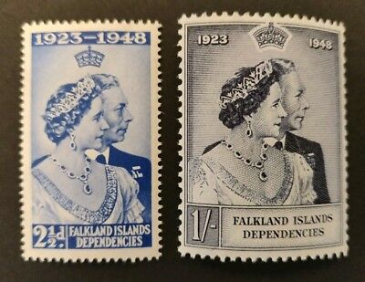 Falkland Islands Dependencies 1948 Royal Silver Wedding MNH Set. SG G19-20.