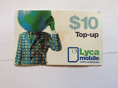 Phone card $10 used Lyca Mobile top up