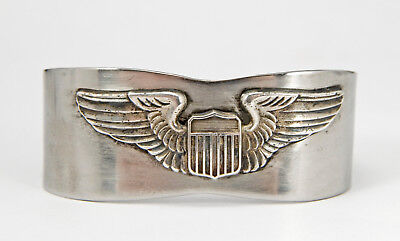 WWII US Army Air Force USAAF Sterling Silver Pilot Wings Badge Cuff Bracelet WW2