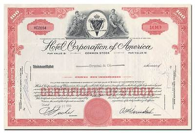 Hotel Corporation of America Stock Certificate