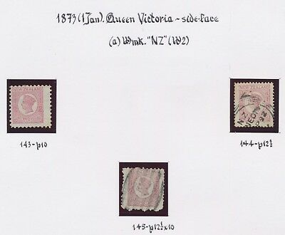 New Zealand Stamps 1873 Qv Sideface, 1St Issue, Wmk Nz Sg #143/145, Vf: R Holmes