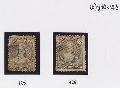 NEW ZEALAND STAMPS 1871 1d BROWN SG #128 P.10/10.5 x2 FINE USED: R. HOLMES COLTN