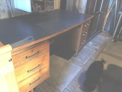 Vintage Ercol Style Double Pedestal Partners Desk By Tutty, Hull Leather Top