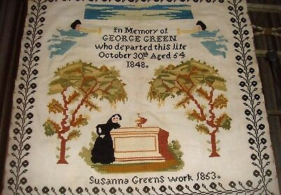 Well worked Antique Memorial sampler dated 1853