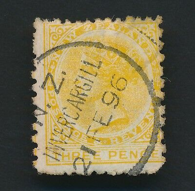 NEW ZEALAND STAMP 1896 3d POSTAGE & REVENUE VERTICAL MESH DIE III SG #216e F/VFU