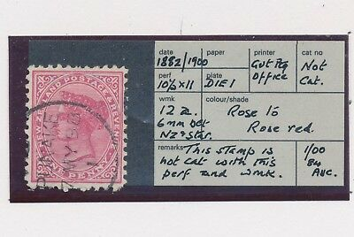 RARE NEW ZEALAND STAMP 1882/1900 QV 1d ROSE, UNLISTED, VFU: R. HOLMES COLLECTION