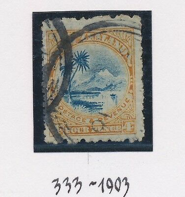 RARE NEW ZEALAND STAMP 1902 4d COMPOUND PERF SG #333, F/VFU WITH CP ATTEST