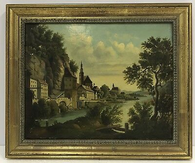 Early 19th century antique oil painting on board Grand Tour landscape