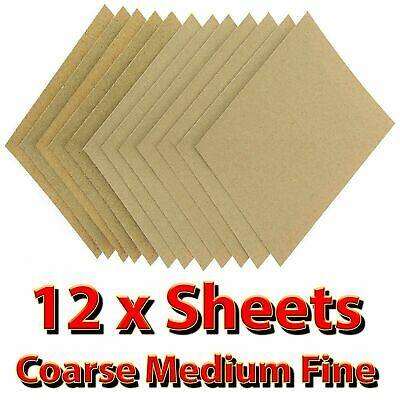 🔥 Wet Dry 12 X Assorted Sand Paper Sheets Fine Medium Home Coarse Use Sandpaper
