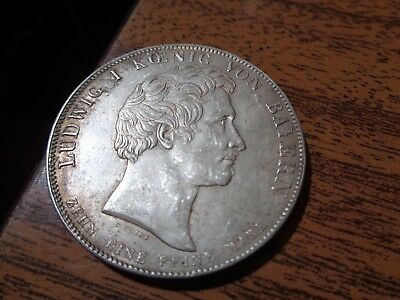 Rare Old Bavaria German Commemorative Silver Double Thaler Coin 1828