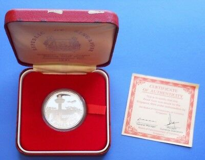 1981 Singapore Changi Airport...$5...92.5% Silver...proof...box & Coa #19915