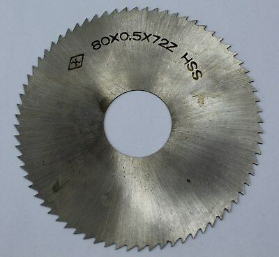 Slitting Slotting Saw 80mm OD 22mm ID 0.5mm Thickness 72T HSS Milling Cutter